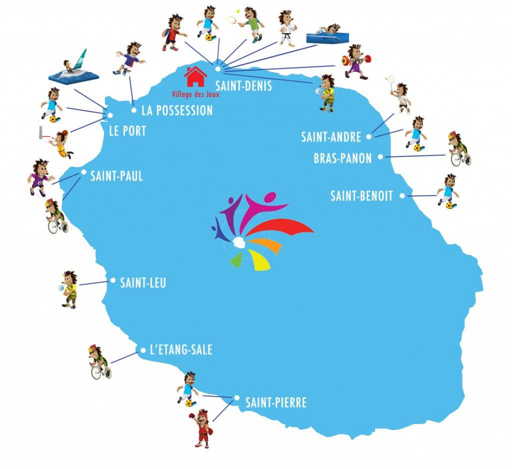 Le logo (au centre) représente l'unité et la communion de cet événement. Les 7 courbes symbolisent les 7 îles participant aux Jeux aux couleurs de l'arc-en-ciel faisant écho à leur métissage.