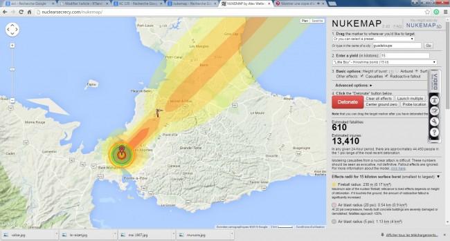 Les conséquences pour la Guadeloupe en 1967 selon le site nukemap