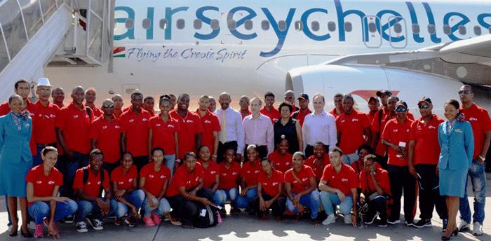 La délégation seychelloise à son arrivée